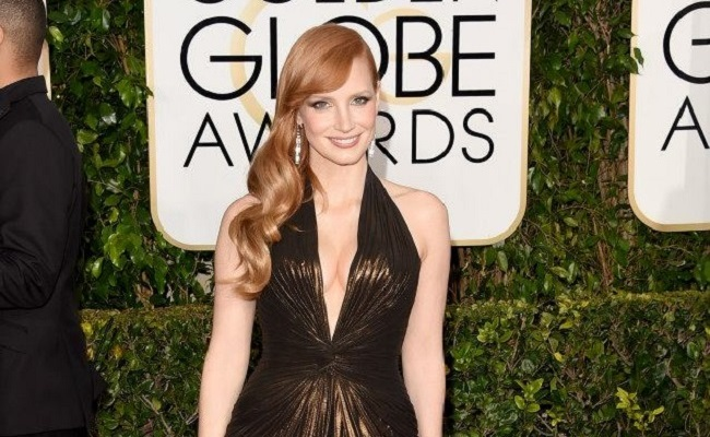 Jessica Chastain robe Golden Globes 2015