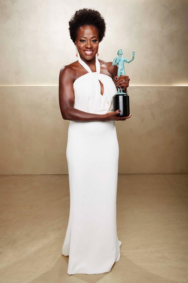 Viola Davis robe blanche star SAG 2015