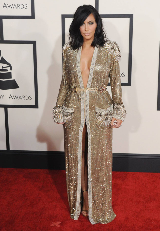 Kim Kardashian en Jean Paul Gauthier aux grammy Awards