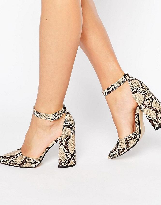 Chaussures à talon en cuir imitation serpent