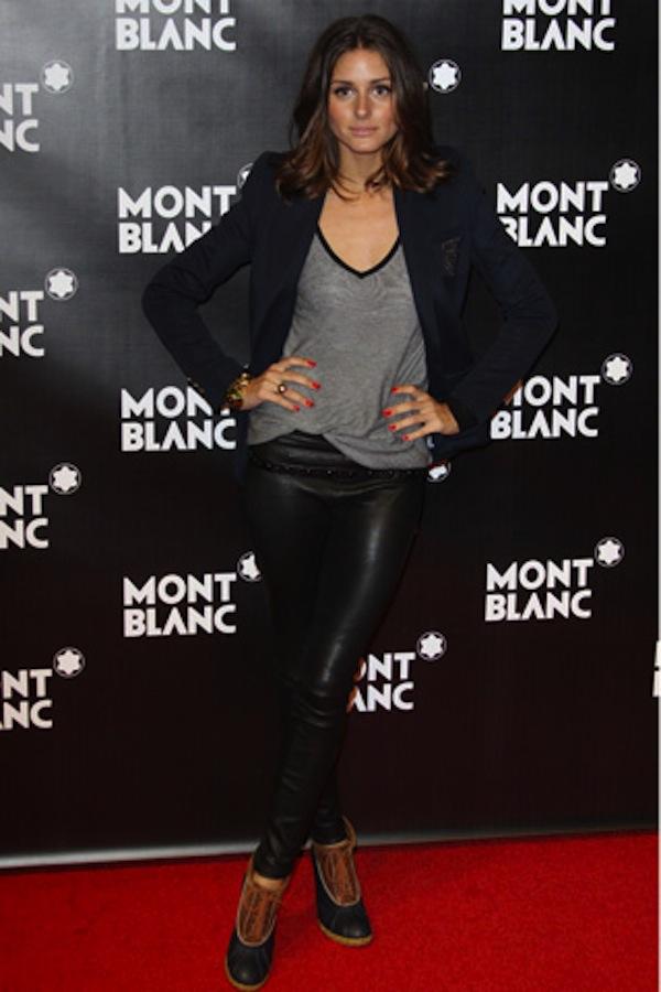 Olivia Palermo legging cuir