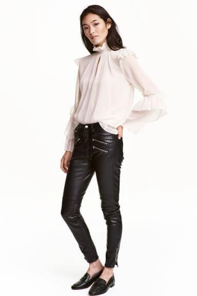 Pantalon slim en cuir H&M