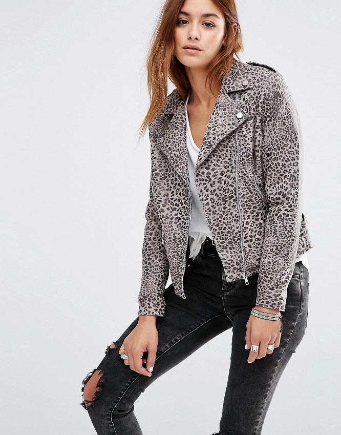 Veste cuir léopard
